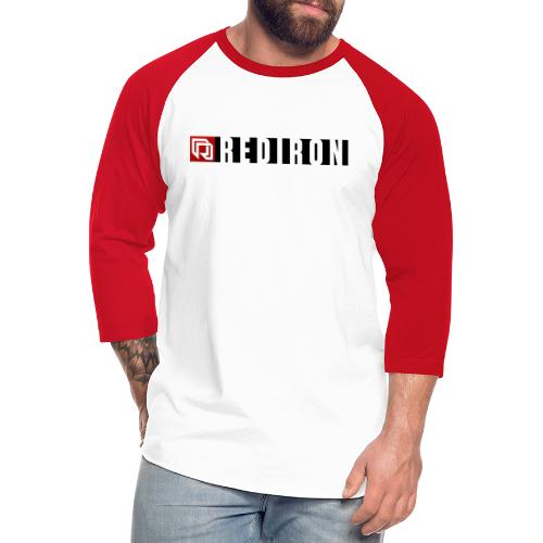 Red Iron Horizontal Stripe (Black) - Unisex Baseball T-Shirt