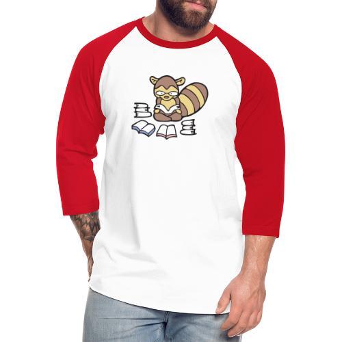 Reading Raccoon - Unisex Baseball T-Shirt
