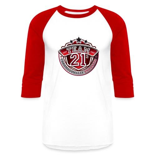 Team 21 - Chromosomally Enhanced (Red) - Unisex Baseball T-Shirt