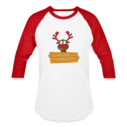 Red Christmas Horny Reindeer 9 - Baseball T-Shirt