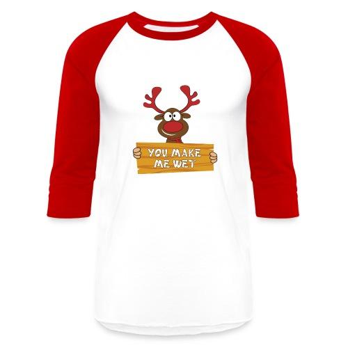 Red Christmas Horny Reindeer 2 - Baseball T-Shirt