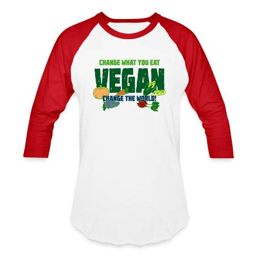 Change what you eat, change the world - Vegan - Baseball T-Shirt