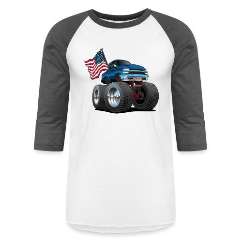 Monster Pickup Truck with USA Flag Cartoon - Baseball T-Shirt