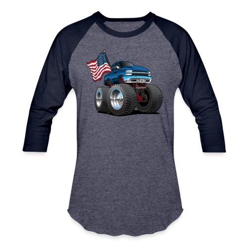 Monster Pickup Truck with USA Flag Cartoon - Baseball T-Shirt