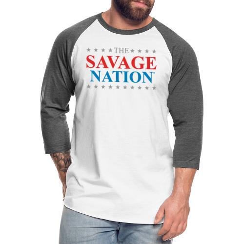 The Savage Nation Logo - Unisex Baseball T-Shirt