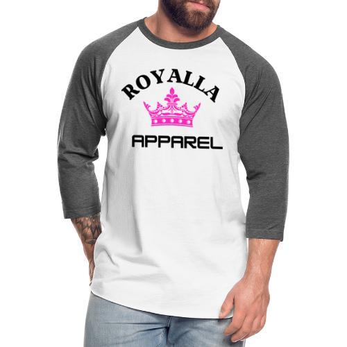 Royalla Apparel Black with Pink Logo - Unisex Baseball T-Shirt
