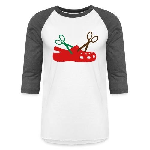 I Hate Crocs Scissor Design - Baseball T-Shirt