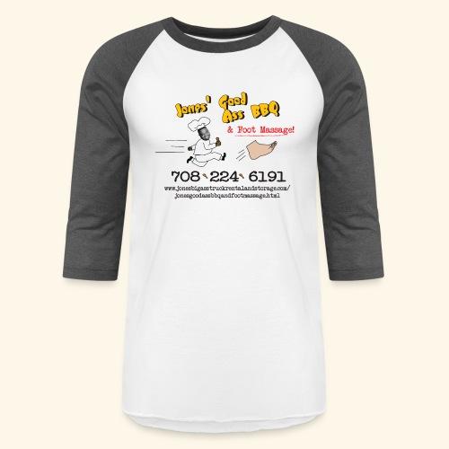 Jones Good Ass BBQ and Foot Massage logo - Unisex Baseball T-Shirt