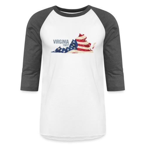 Virginia 1607 with USA Stars and Stripes - Baseball T-Shirt