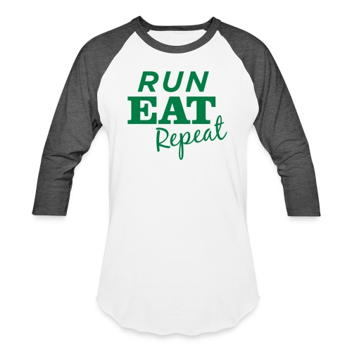 Run Eat Repeat buttons medium - Baseball T-Shirt