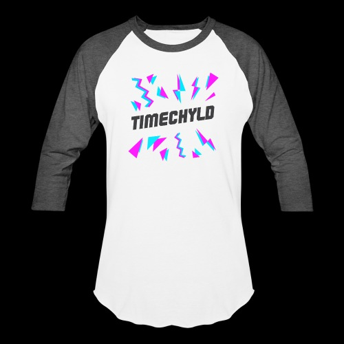 Timechyld Logo with Retro Pattern (Black) - Unisex Baseball T-Shirt
