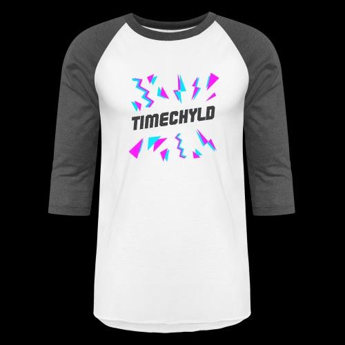 Timechyld Logo with Retro Pattern (Black) - Unisex Baseball T-Shirt