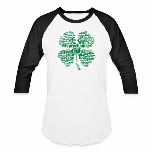 Shamrock Word Cloud - Baseball T-Shirt