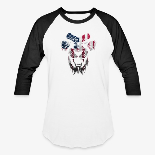 American Flag Lion Shirt - Baseball T-Shirt