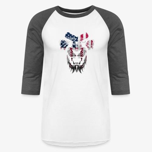 American Flag Lion Shirt - Unisex Baseball T-Shirt