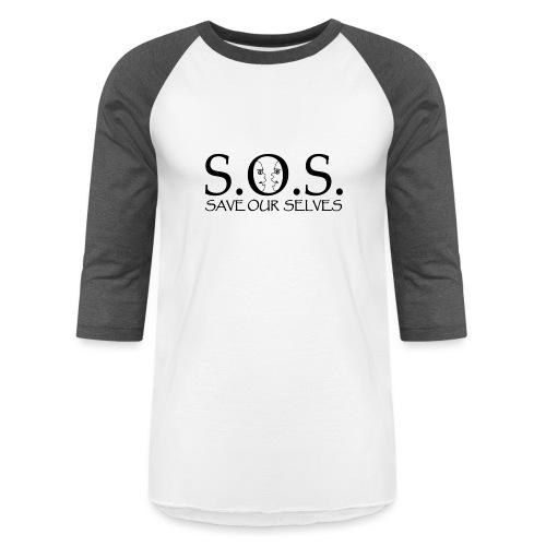 SOS Black on Black - Unisex Baseball T-Shirt