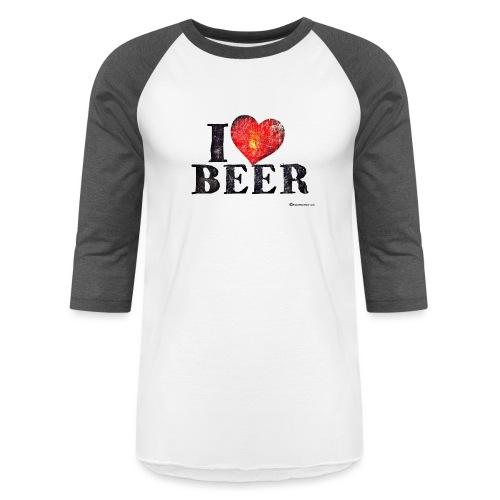 I Love Beer Distressed - Baseball T-Shirt