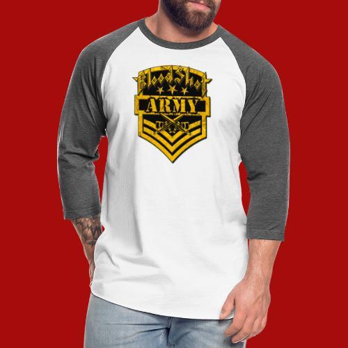 BloodShot ARMYLogo Gold /Black - Unisex Baseball T-Shirt