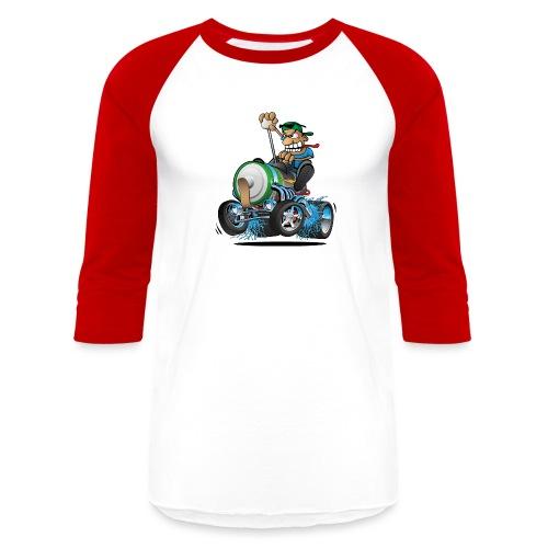 Hot Rod Electric Car Cartoon - Baseball T-Shirt
