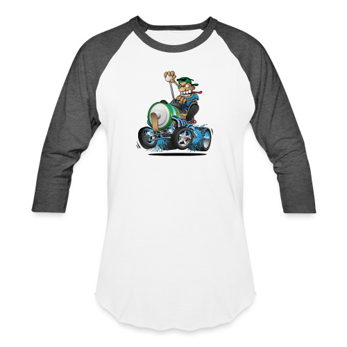 Hot Rod Electric Car Cartoon - Baseball T-Shirt