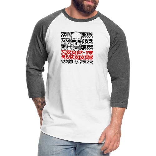 Corona Survivor Skull (USA) - Unisex Baseball T-Shirt