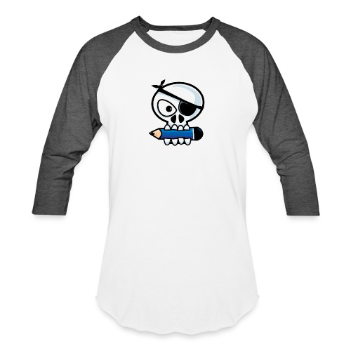 Pirate Old Skull Goes to School - Baseball T-Shirt
