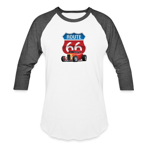 Route 66 Sign with Classic American Red Hotrod - Baseball T-Shirt