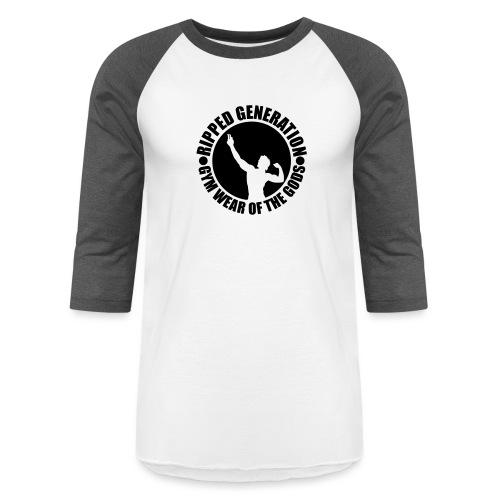 Ripped Generation Gym Wear of the Gods Badge Logo - Unisex Baseball T-Shirt
