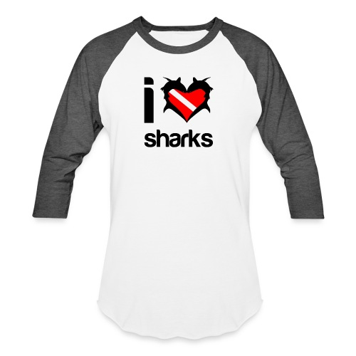 I Love Sharks - Unisex Baseball T-Shirt