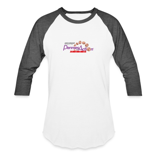 Pennies In Action Logo - Unisex Baseball T-Shirt