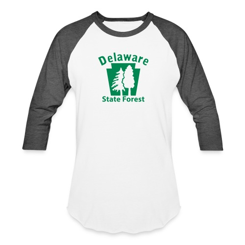 Delaware State Forest Keystone (w/trees) - Baseball T-Shirt