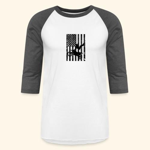 American Flag (Black and white) - Baseball T-Shirt