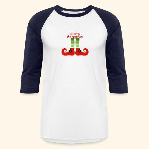 Elf Feet Merry Christmas Design - Baseball T-Shirt