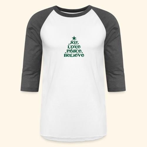 Christmas Tree Joy Peace Believe - Baseball T-Shirt