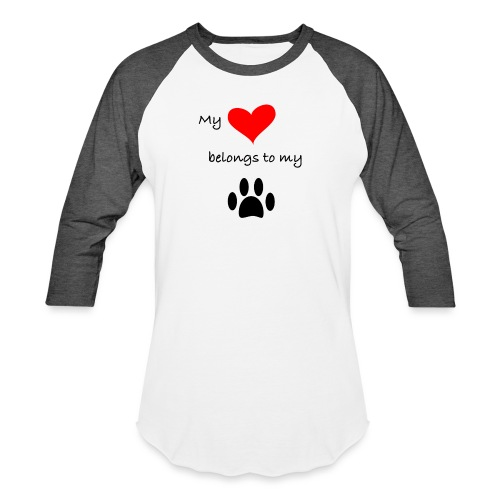 Dog Lovers shirt - My Heart Belongs to my Dog - Baseball T-Shirt
