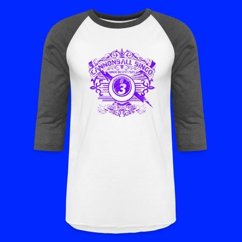 Vintage Cannonball Bingo Crest Purple - Unisex Baseball T-Shirt