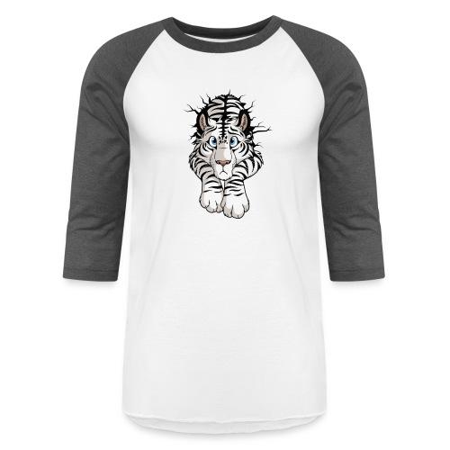 STUCK Tiger White (double-sided) - Unisex Baseball T-Shirt