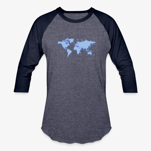 Blue Earth Map - Unisex Baseball T-Shirt