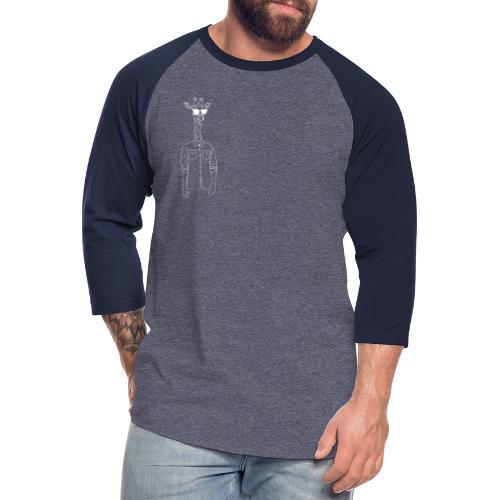 Hipster Giraffe White - Unisex Baseball T-Shirt