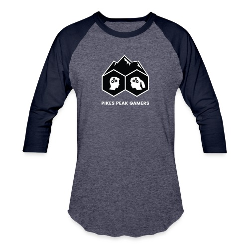 Pikes Peak Gamers Logo (Solid Black) - Baseball T-Shirt