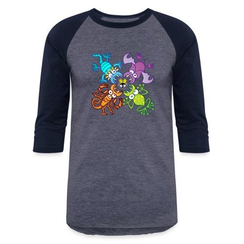 Bat, lizard, scorpion and frog stalking a poor fly - Unisex Baseball T-Shirt