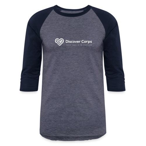 DiscoverCorp Logo Horizontal Rev High white - Baseball T-Shirt