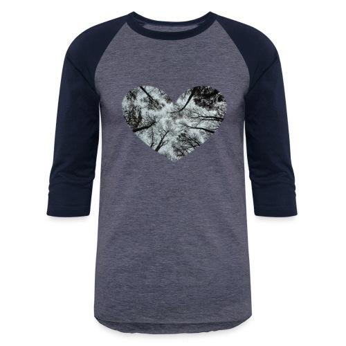 Heart Abstract Black and White Trees - Baseball T-Shirt