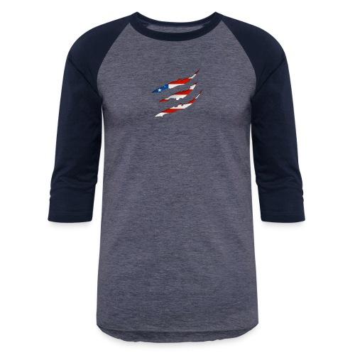 3D American Flag Claw Marks T-shirt for Men - Baseball T-Shirt