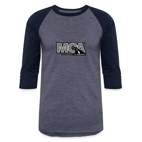 MCA Logo WBG Transparent BLACK WHITE TITLEfw fw pn - Unisex Baseball T-Shirt