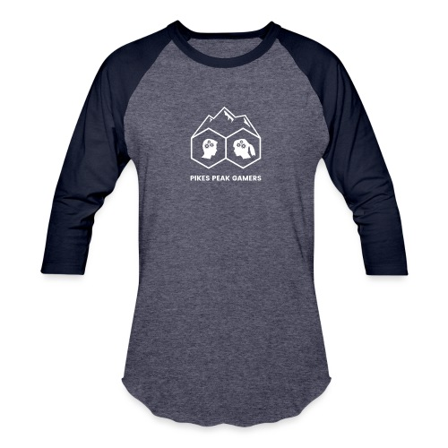 Pikes Peak Gamers Logo (Transparent White) - Baseball T-Shirt