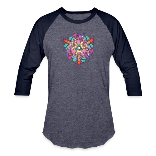 Mosquitoes, bats and fishes in doodle art style - Baseball T-Shirt