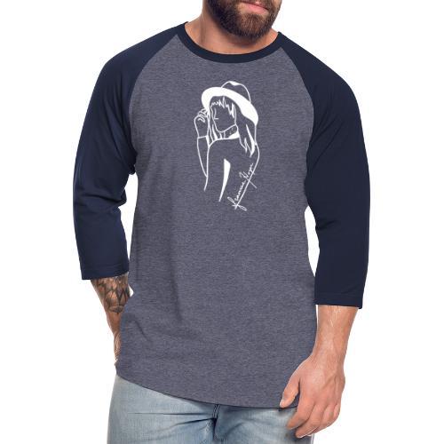 Minimal White Line - Unisex Baseball T-Shirt