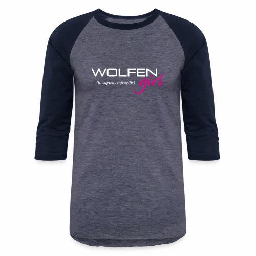 Front/Back: Wolfen Girl on Dark - Adapt or Die - Unisex Baseball T-Shirt