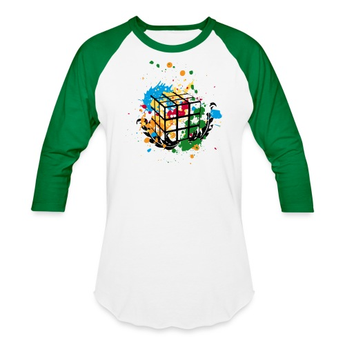 Rubik's Cube Colourful Splatters - Baseball T-Shirt